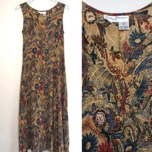 Vintage Maxi Button Front 1990s Mom Dress